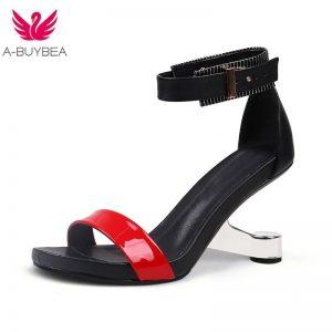 Mixed Color High Heel Women Sandals Genuine Leather Open Toe 8cm Strange Heel Summer Women Sandals black red Party Shoes