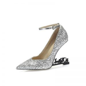 Knsvvli Sequins Strange Letter High Heels Women Pumps Pointed Toe Ankle Strap Shoes  Woman Runway Party Wedding Dress Shoes