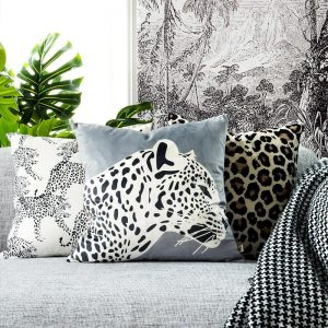 DUNXDECO Cushion Cover Decorative Pillow Case Modern Animal Collection Leopard Print Soft Velvet Coussin Sofa Chair Decorating