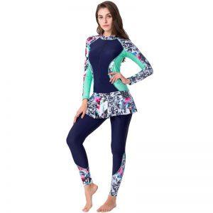 Plus Size Muslim Print Full Cover Swimsuit Islamic Islam Burkinis Swimwear Women Modest Floral Beachwear Swimming Bathing Suit