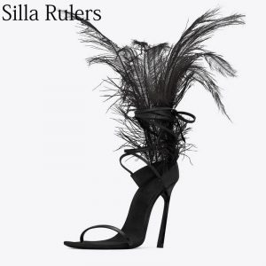 Silla rules 2019 new summer black feather sandals woman super high heels ankle strap ladies dance shoes peep toe party shoes