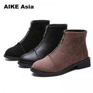 2020 Slip On Elastic Band Rubber Boots Winter Arrival Ankle Chelsea Women Shoes Autumn Square Heel Female Footwear Botas Mujer