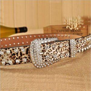 SupSindy women belt pin buckle luxury Rhinestones leopard print PU leather belts for women best quality Female strap for jeans