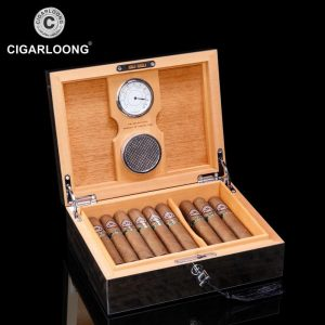 2019 New Arrival Luxury 2 Parts Large Capacity Cigar Humidor with Humidifier & Hygrometer Cedar Wood Cigar Humidor Case CH-611b