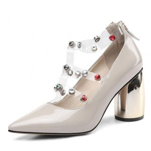 FEDONAS Fashion Sweet Women Pumps New Patent Leather Zipper Rhinestone Sandals Pointed Toe Round Heeled Shoes Woman Prom Shoes