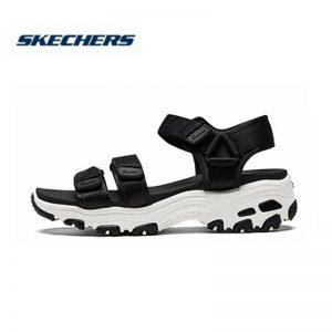 Skechers D'lites Sandals Women Platform Sandals Ladies Med Heel Wedges Walk Shoes Summer Beach Shoes Fashion 31514-BLK