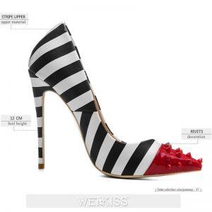 WETKISS Studded High Heels 12cm Stilettos Women Pointed Toe Rivet Ladies Party Pumps Zebra Shallow Colorful Shoes Woman 34-45
