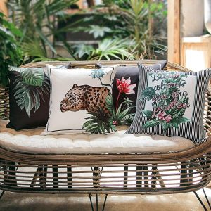 DUNXDECO Cushion Cover Decorative Pillow Case American Style Tropical Rain Forest Plants Leopard Print Coussin Modern Room Decor