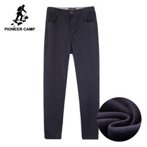 Pioneer Camp thick fleece mens winter pants quality heavyweight business pants male smart casual pants AXX701378