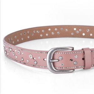 SupSindy hot women's genuine leather belt Punk Rhinestone rivets luxury brand designer belts for women high quality female belt