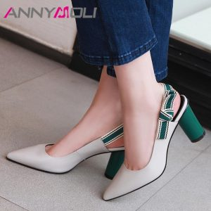 ANNYMOLI Women Slingbacks Shoes High Heels Natural Genuine Leather Round High Heels Shoes Bow Pointed Toe Pumps Lady Size 34-39