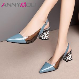ANNYMOLI High Heels Women Slingbacks Shoes Natural Genuine Leather Thick High Heel Shoes Transparent Buckle Pumps Ladies Size 41