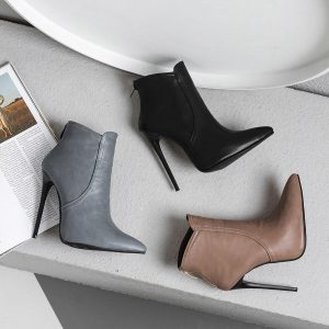 Brand New Glamour Gray Black Women Ankle Nude Formal  Boots Sexy High Heels Office Lady Shoes S273 Plus Big Size 10 46 48