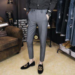 2018 spring and summer new men's casual pants black youth Korean version of the trend of Slim feet feet nine pants men