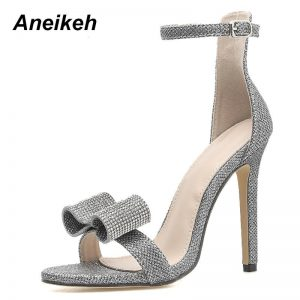 Aneikeh 2019 Summer Rhinestone Sandals Silvery Butterfly-knot Women Fashion High Heels Ankle Buckles Ladies Sandals Party Shoes