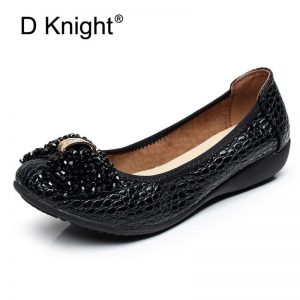 2018 Wedges Women's Shoes Crystal Patent Leather Soft Women Pumps String Beads Bow Slip On Casual Black Blue Shoes Large Size 42
