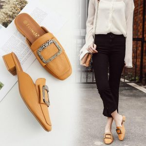 Closed Toe loafers glitter metal decoration slippers famous brand platform sandals chunky mules med-high heels women's shoes