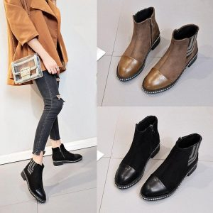 2018 New  Chelsea Boots Women Soft Leather Ankle Boot Slip on Rivet Diamond Martin Boots
