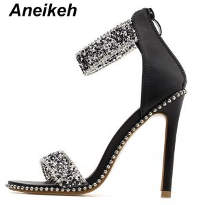 Aneikeh  Bling bling Crystal Embellished Sexy Sandal for Woman Rome Style Open Toe Ankle Strap High Heel Shoes Cutouts Sandal