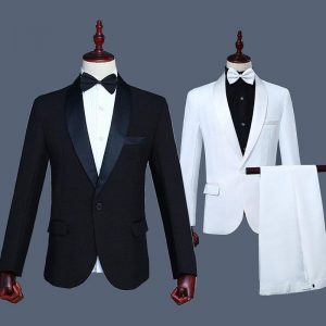 Spring Suits Men 2019 Long Sleeve Dress Mens Casual Performance Stage White Black Suit Formal Clothing Two Piece Set Coat Pants