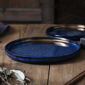 8 /10 inch japanese style blue color glaze with gold paint ceramic dinner plate accent plate