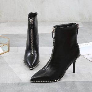 Women 8cm High Heels Ankle Boots Microfiber Leather Black/White/Red Casual Ladies Shoes Spring/Summer/Autumn/Winter Female Shoes