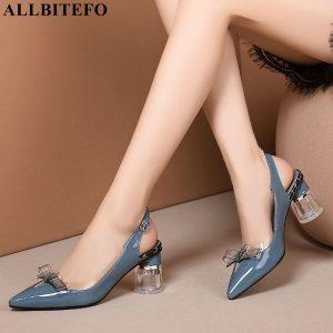 ALLBITEFO crystal heel genuine leather thik heel women shoes bowtie party women sandals women high heel shoes beach sandals
