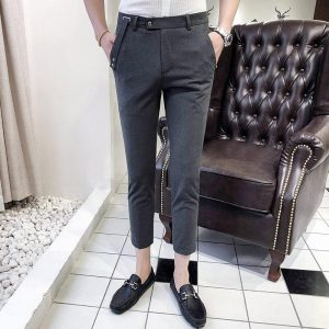 Fashion Korean version of the pants male thin section Slim feet wild casual trousers England was thin summer pure color 9 pants