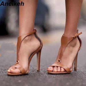 Aneikeh NEW Brown T Strap Stiletto Heels Open Toe Sandals for Women Summer Buckle Strap Gladiator Sandals High Heels Shoe Black