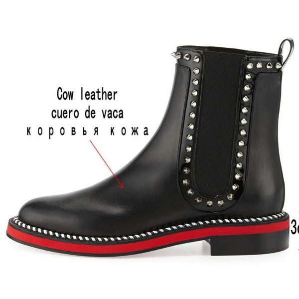 Luxury Genuine Leather Chelsea Boots Woman Brand Design Flat boots 2019 Fall Red Ankle Boots Ladies Fashion Studded Boots
