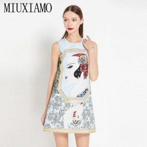 MIUXIMO 2020  Spring & Summer Dress Fashion A-Line O-Neck Sleeveless Tank Sequined Diamonds Elegant Print Above Knee Dress Women