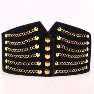 Super Wide Waist Belt For Women Fashion Metal Chain Rivet Body Shaping PU Waist Bands High Waist Elastic Dress Belts