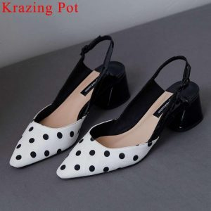 2019 new arrival pretty girl chunky med heels slip on classic square toe genuine leather mixed colors slingback summer pumps L06
