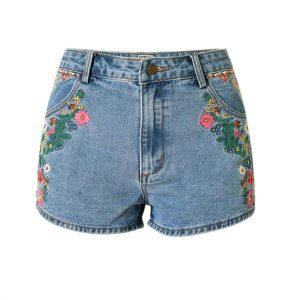 2017 New flower embroidered shorts jeans women Vintage ethnic style Slim high waist shorts casual boho Blue denim for feminine