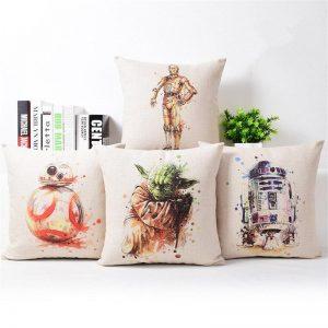 Cartoon Style Star Wars Printed Cushion Cover Home Decorative Pillow Case Cojines Decorativos Para Sofa Pillow Cover Almofada
