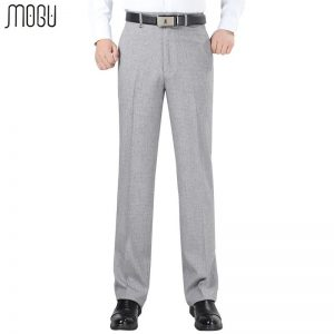 MOGU Stripes Men's Trousers 2017 New Fashion High Quality High Waist Unhemmed Loose Formal Pants Men Asian Plus Size Men's Pants