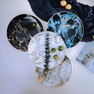8 and 10 inch  Marble Ceramic Plate Unique Dinner Set Dish Dessert Plate Wholesale Dinnerware Cake Tray