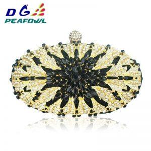 Elegant Lady Floral Colorful Diamond Women Clutch Wedding Evening Bag Handbag Toiletry Purse Shoulder Party Crossbody Bags