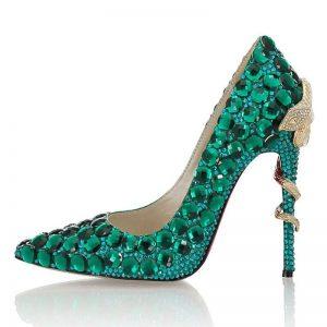 Green Crystal Snake pattern heel Women Pumps Pointy Toe Banquet Wedding Fashion Shoes Rhinestone High Heel Shoes Women Luxury