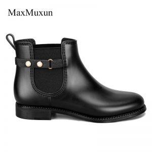 MaxMuxun New Arrival Rome Fashion Women Boot Flat Waterproof  Women's Shoes Rain Woman Ankle Slip-OnBoots