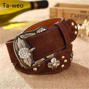 Ta-weo Fashion Casual Women dress Leather Belts, designer metal floral inlaid jeans Belts for Women, ceinture femme