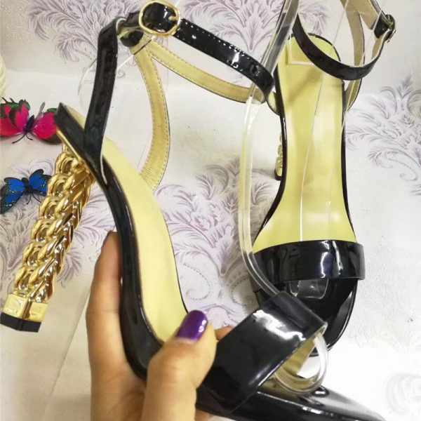 Unique Gold Metal Knitted High Heel Sandals Women One-strap Open Toe Patent Leather Strange Heel Summer Shoes Woman