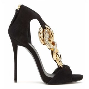 Summer Women Black Suede Peep Toe Crossed Gold Metal Chains Sandals Gladiator Back Zipper Cover Heel 12 cm Thin Heel Party Shoes