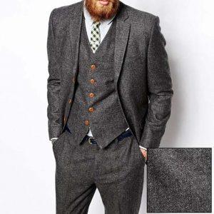 Grey Herringbone Tweed Men Suit Vintage Fall Winter Groom Tuxedo Ternos Formal Wedding Suits For Men 3 Piece Men's Classic Suit