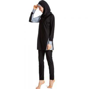 YONGSEN 2020 New Short Sleeve Swimsuit Islamic Hijab Islam Burkinis Wear Muslim Swimwear Women Modest Patchwork Full Cover