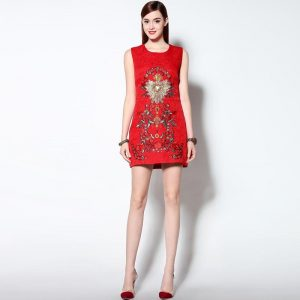 2020  Newest Luxurious Spring  High Quality Three-dimensional Beading Embroidered  Sleeveless Red Cotton Slim Tank Dress Women