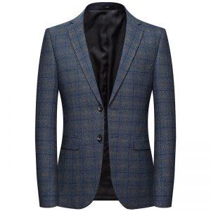 M-XXXXL Autumn Men's Casual Suit New Plaid Blazer Male Korean Version of the Slim Suit Jacket