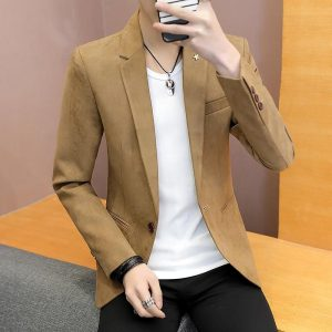 Men's fashion of new fund of 2020 autumn outfit suits young pure color cultivate one's morality leisure suit