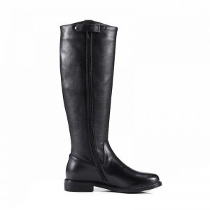 Phoentin black knee high boots with zipper genuine leather low flat heels long boots for women solid fashion shoes woman FT449