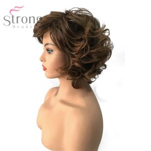 StrongBeauty Women's Synthetic Capless Wig Black/Brown Mix Short Curly Hairstyle Natural Wigs